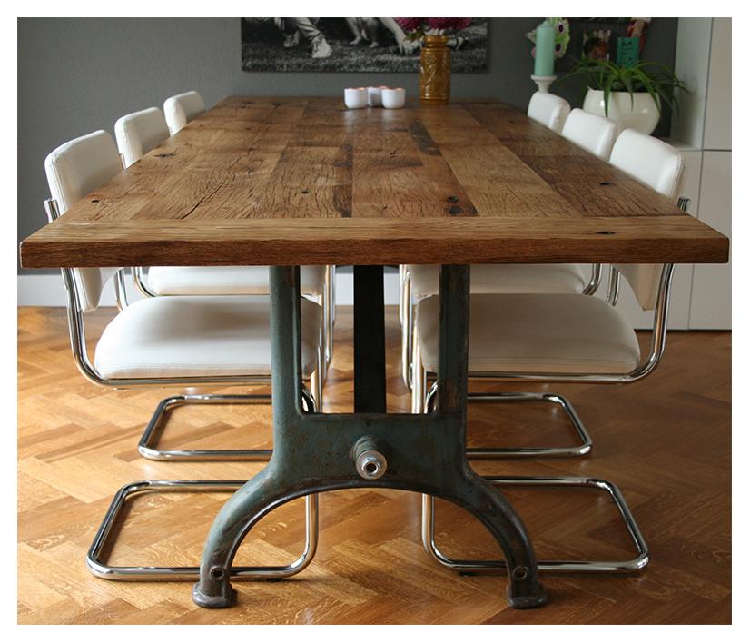 industriele oud eiken tafel