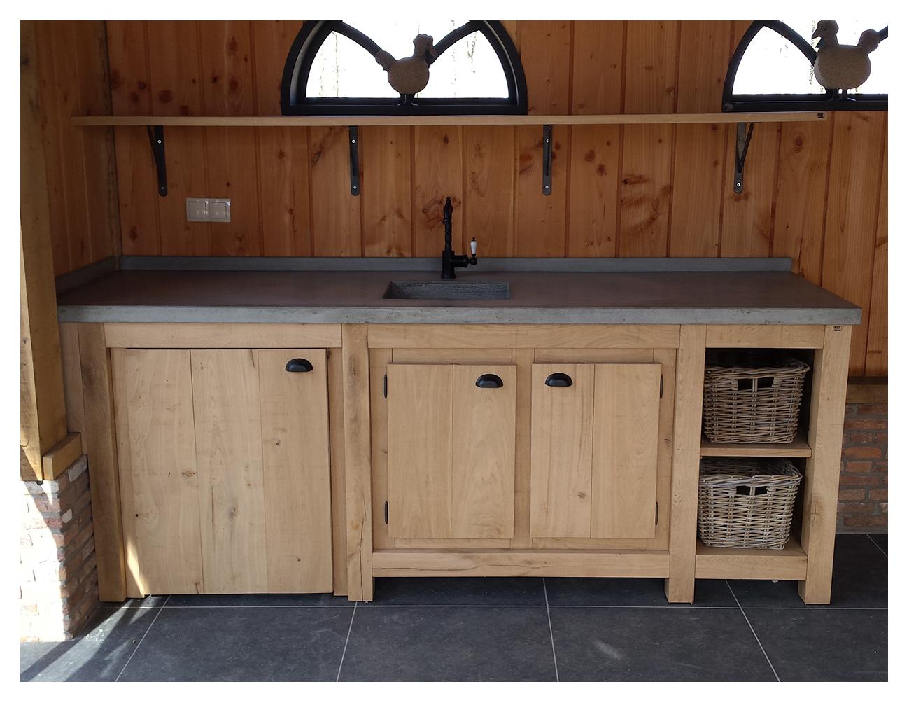 Houten Keuken Beton : Robuust eiken keuken met betonnen blad houtsmederij
